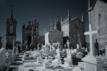 Printed roller blinds Cemetery Infrared old european cemetery