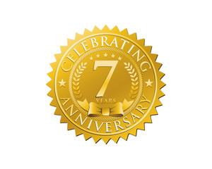 anniversary logo golden emblem 7
