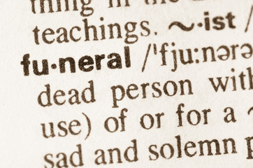 Dictionary definition of word funeral