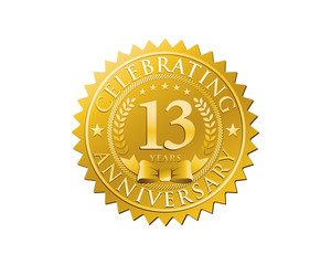 anniversary logo golden emblem 13
