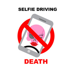 Sign  ban on selfie. Strikethrough phone with skull. Selfie driv
