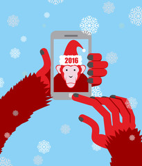 New year selfie. Monkey hooded Santa Claus makes a photo on a Sm