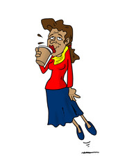 Woman floating while drinking coffee