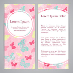 Flayers with retro patterns - butterflies pink background