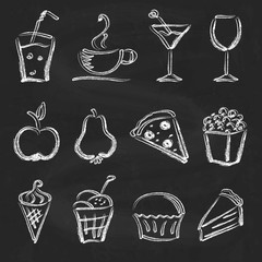 Ink style hand drawn sketch set  - food, drinks, ice cream