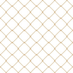 d3cf27fccf9 Nautical rope seamless gold fishnet pattern on white background