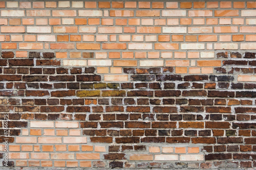 Wall From The Combined Old And New Bricks