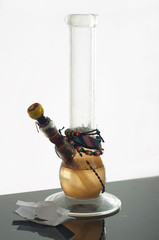 Multi-colored bong, isolated on a white background is on the tab