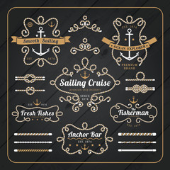 Vintage nautical rope frame labels set on dark wood background