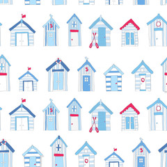 Hand Drawn Blue and Red Beach huts in a repeat pattern