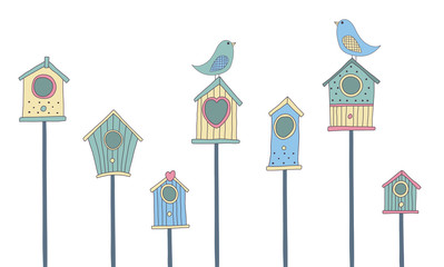 Wall Murals Birds in cages A set of cute bird houses and birds in a row