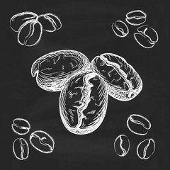 Silhouette hand drawn coffee beans