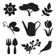 Gardening silhouette set