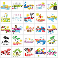 Summer Flat Icons Set: Vector Illustration, Graphic Design. Collection Of Colorful Icons