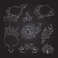 Concept hand drawn pictures set with e-mail letters and arrows isolate on dark background