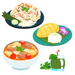 popular Thai sweet mango sticky rice set vector