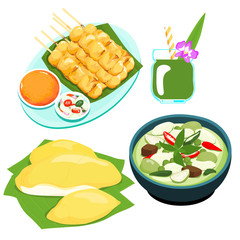 popular Thai green curry food set vector