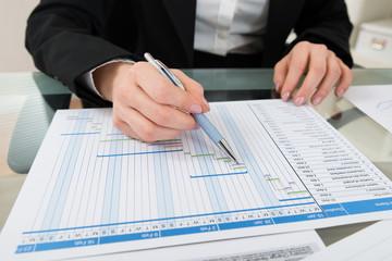 Businesswoman Working On Gantt Chart