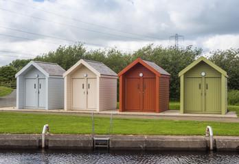 Beach type huts at the Kelpie's, Falkirk, Scotland, UK