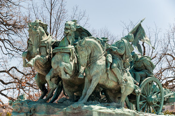 Civil War Memorial Statue near the Ulysses S. Grant Memorial in front o the US Capitol Building