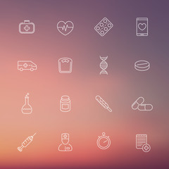 medicine, health care, pharmaceutics, hospital, line icons on blur background, vector illustration, eps10