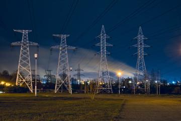 Impression network at transformer station in sunrise, high