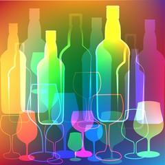 Bottles and glasses background