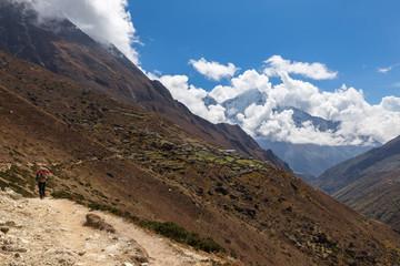 Wall Mural - Backpacker walking mountain trail, Nepal village.