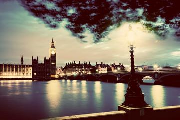 Wall Mural - Big Ben, London the UK at sunset. Retro street lamp light on Westminster Bridge. Vintage