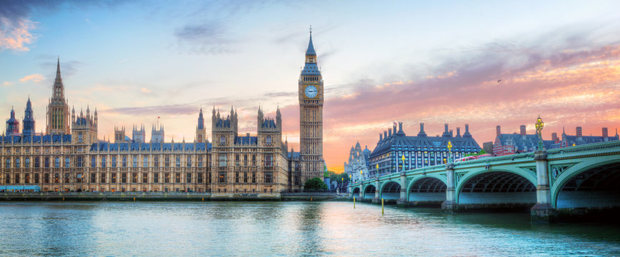 London, UK panorama. Big Ben in Westminster Palace on River Thames at sunset