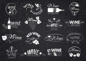 Set of wine labels, badges and logos for design over blackboard