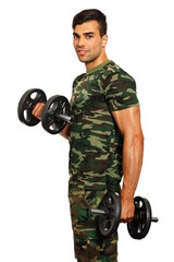 Athlete young man exercises with dumbbell on white background