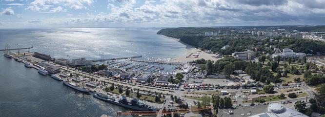 Panorama of Gdynia Kosciuszko harbor, Poland