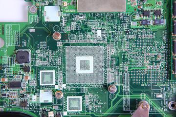 Closeup of computer micro circuit board