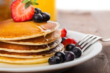 Pancake, Breakfast, Berry Fruit.