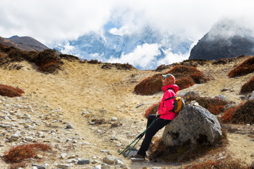 Wall Mural - Woman tourist backpacker resting rock Ama Dablam mountain trail.