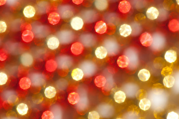 Defocused Christmas Gold and Red Lights