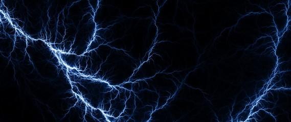 Blue Lightning - Digital fractal of hot blue lightning, electrical background.