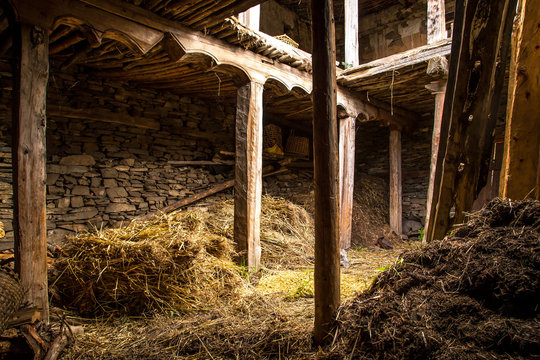 Barn made of stones and wood