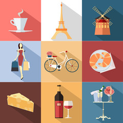 Set of France travel colorful flat icons, France symbols with