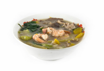 Thai Spicy Mixed Vegetable Soup with shrimp, (Kang Liang Goong Sod)