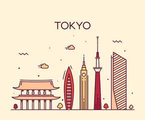 Tokyo City Trendy vector illustration line art