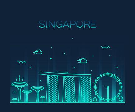 Singapore City skyline Trendy vector line art