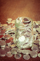 money in the glass with filter effect retro vintage style