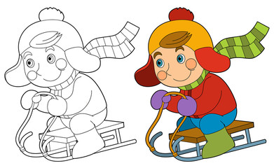 Cartoon child - activity - sliding - illustration