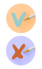 Vector check mark icons.