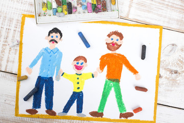drawing of a happy gay couple and adopted child