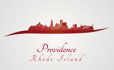 Providence skyline in red