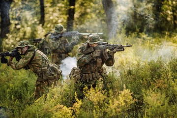 paratrooper airborne infantry in the forest