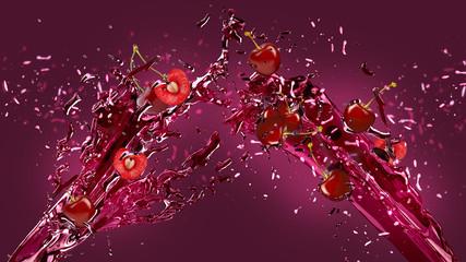 Cherries and juice splash over dark background